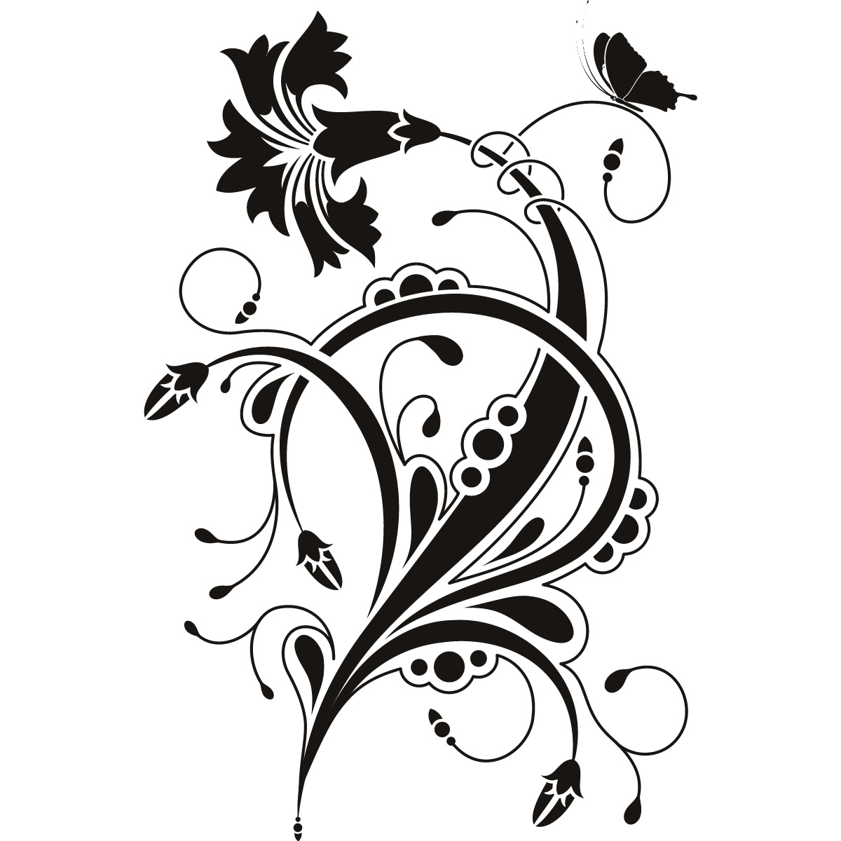 Details About Floral Design Wall Art Sticker Wall Decal Transfers