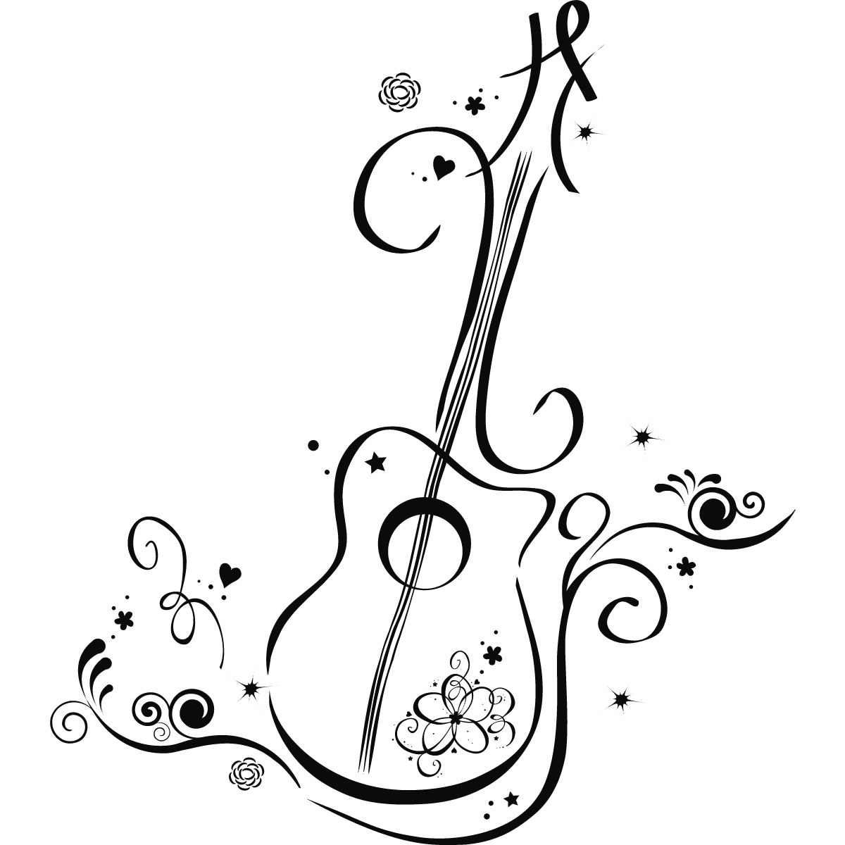Line Drawing Wallpaper Uk : Floral guitar wall art decals stickers transfers ebay