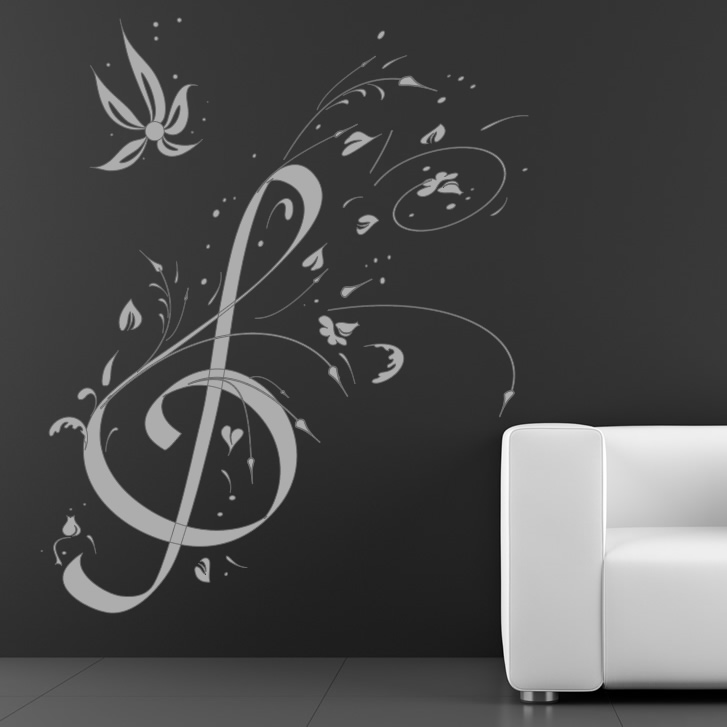 Floral Music Note Music Wall Art Decals Wall Stickers