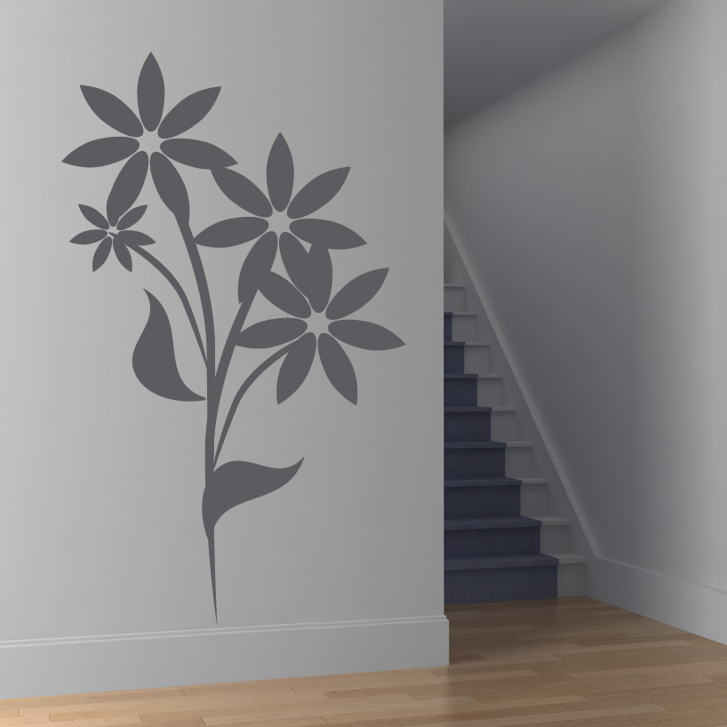 Floral flower wall art decals wall stickers transfers ebay for Floral wall art