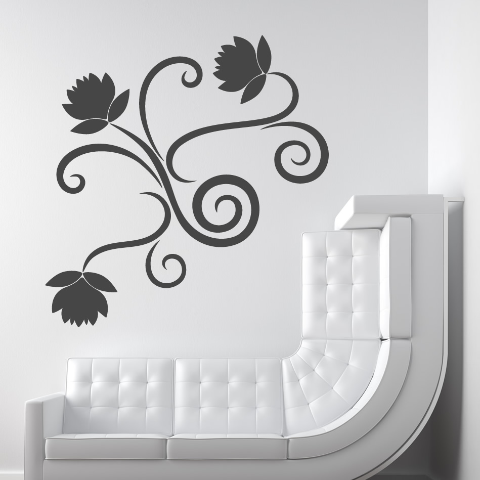 Download Flowers Swirls Floral Wall Decal Wall Art Stickers Transfers