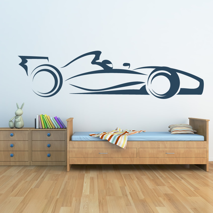 Fomula one car transport wall art sticker wall decal for Cars wall mural sticker
