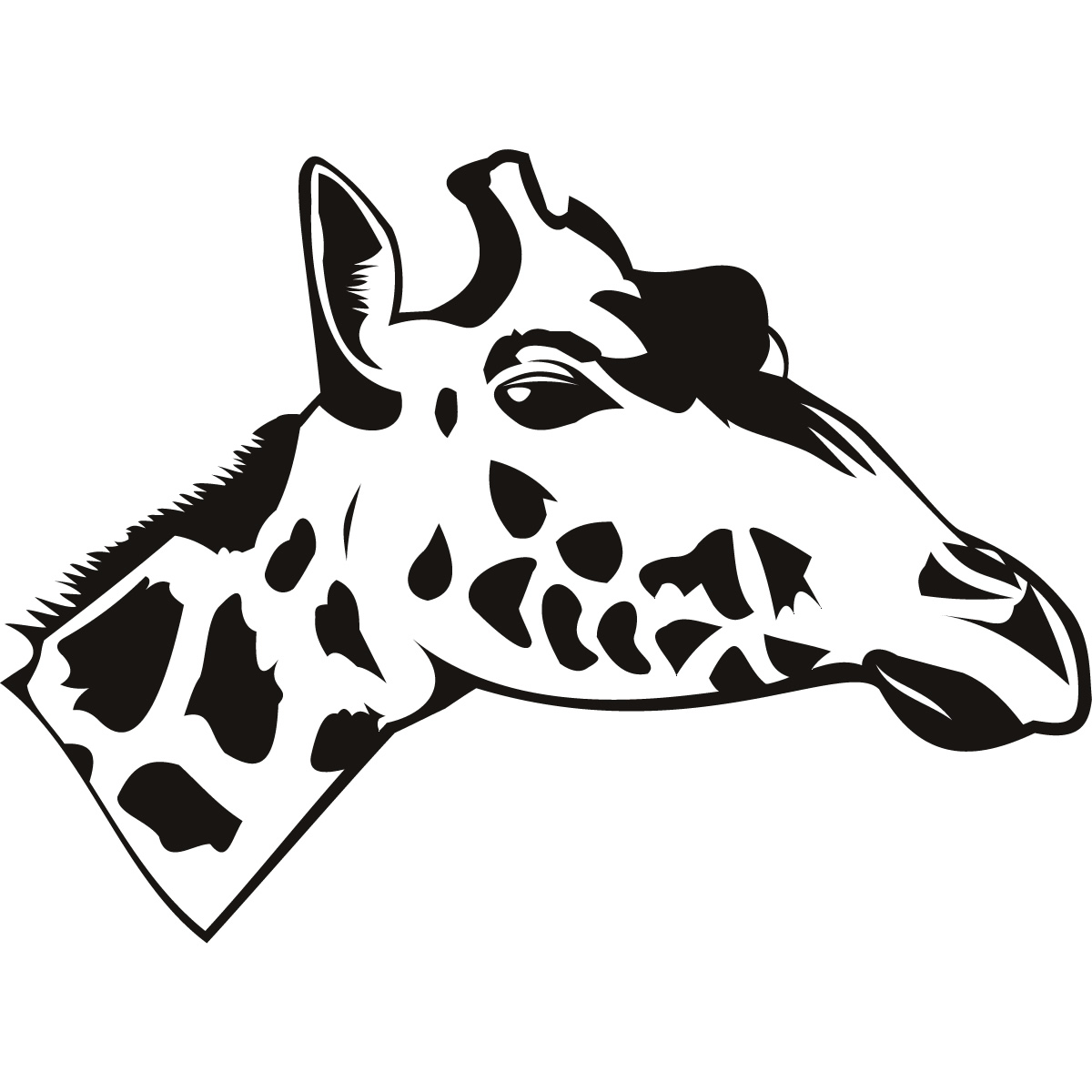 Cow Wall Stickers Giraffe Head Side Drawing