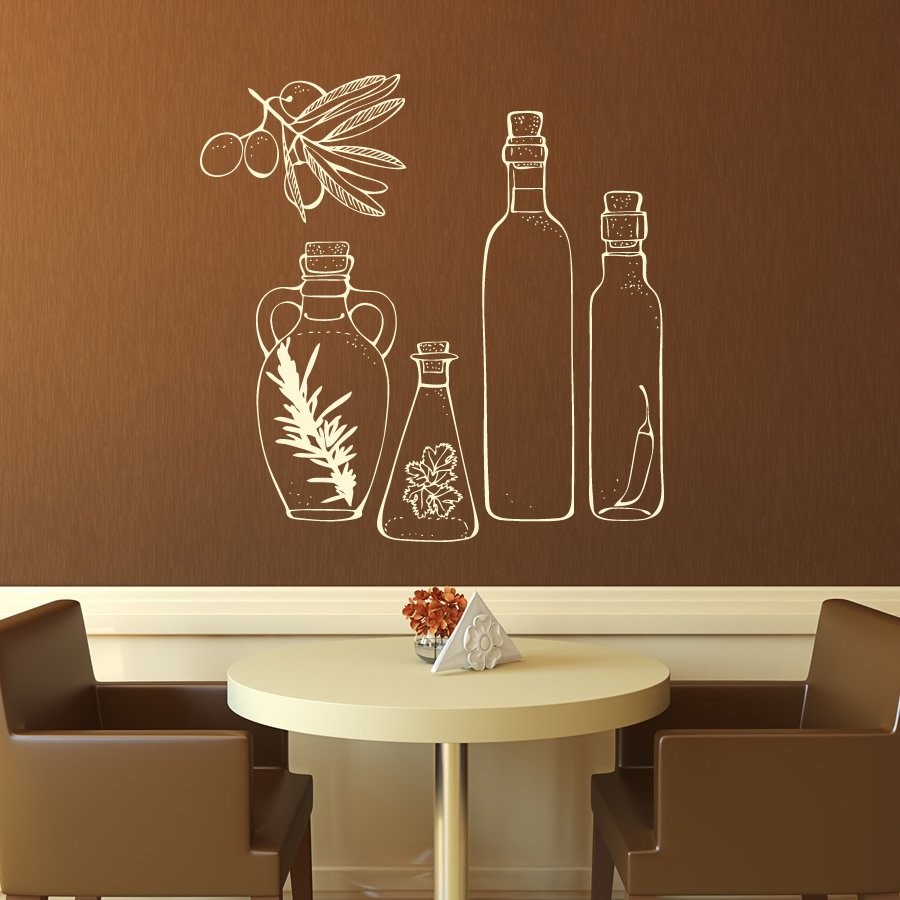Wall Art Decals For Living Room: Glass Bottles Kitchen Wall Art Stickers Wall Decals