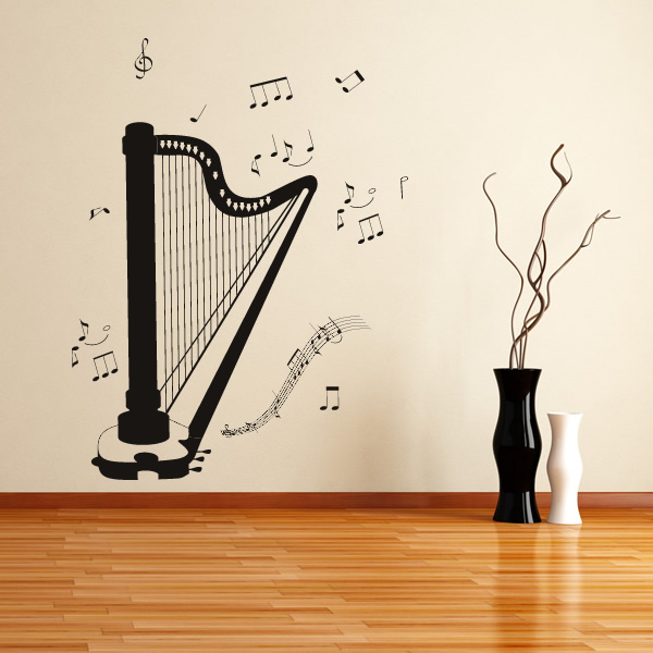 harp music notes instruments wall art sticker wall decal. Black Bedroom Furniture Sets. Home Design Ideas