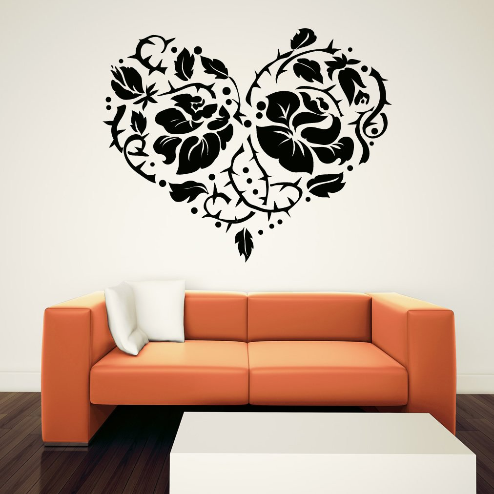Rose And Thorns Heart Floral Wall Art Sticker Wall Decal Rose Decals For  Furniture