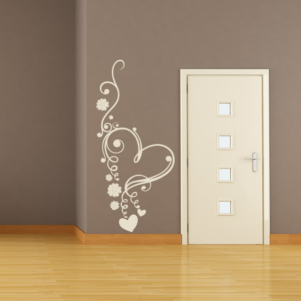 Wall Art Love Heart : Floral love heart flowers wall art sticker decal