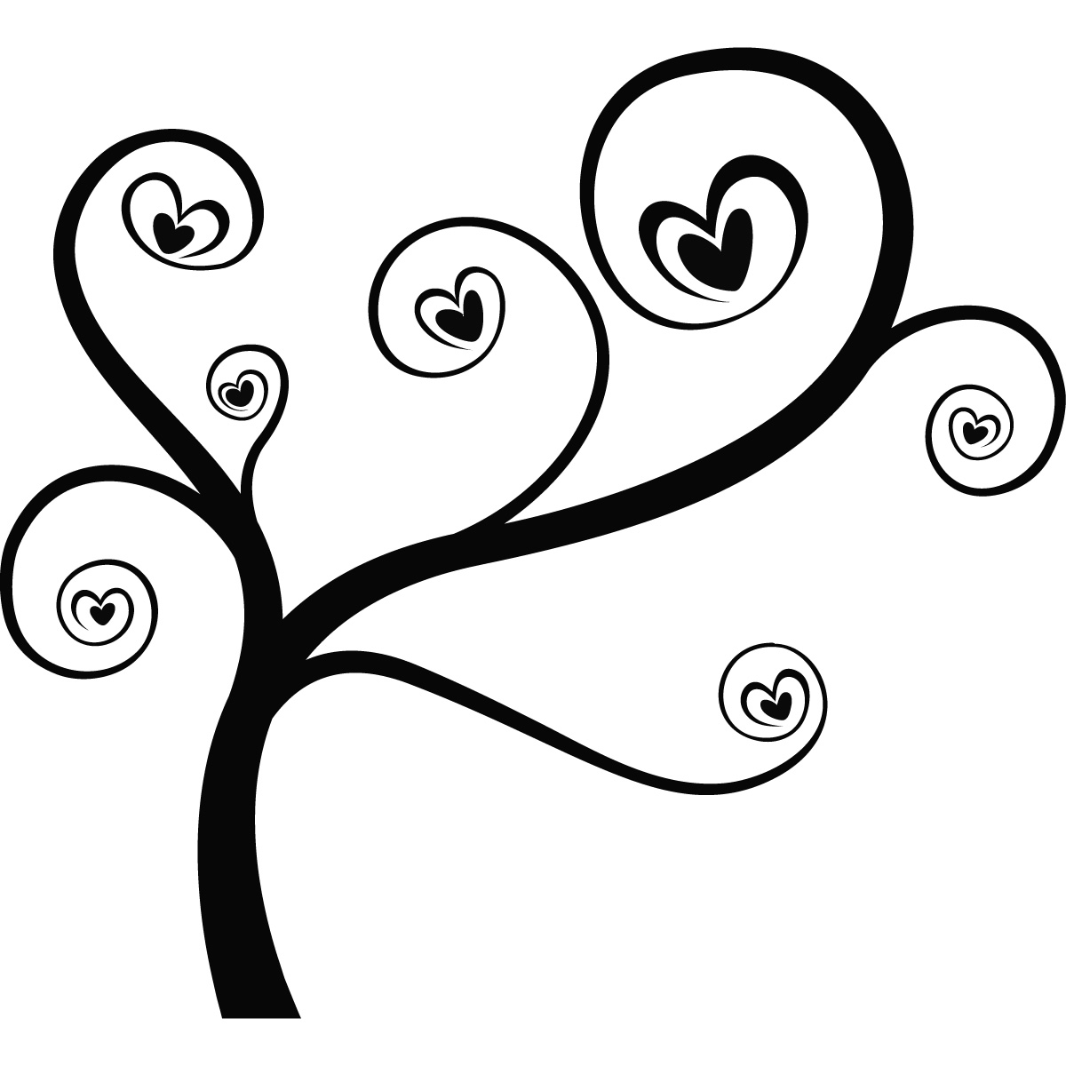 Line Art Love Heart : Heart tree love branches wall art sticker