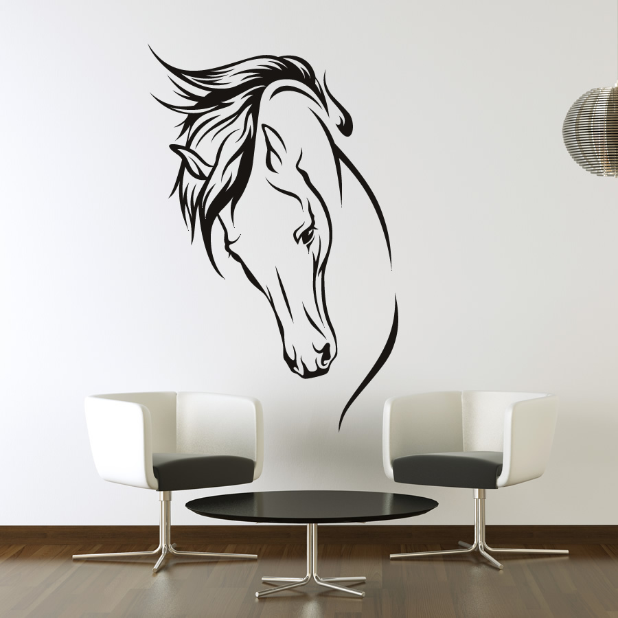 Horses head wall art stickers wall decal transfers ebay for Decor mural wall art
