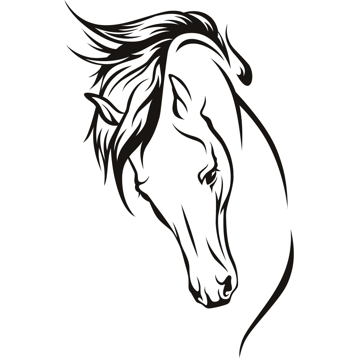 Line Drawing Horse Tattoo : Horses head wall art stickers decal transfers ebay