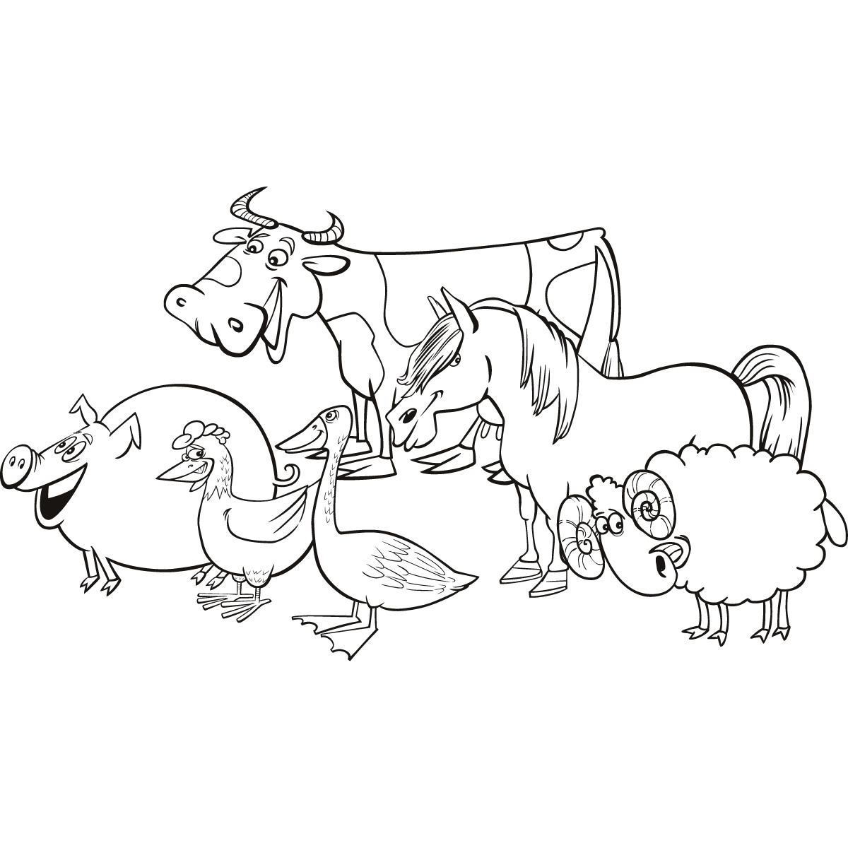 Line Drawings Of Farm Animals : Kids animal farm yard animals wall art sticker decal