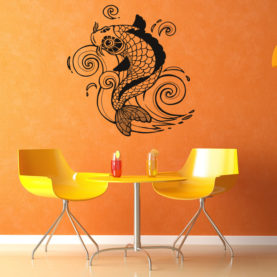 Koi carp detailed fish wall art decal wall stickers transfers for Koi wall decal