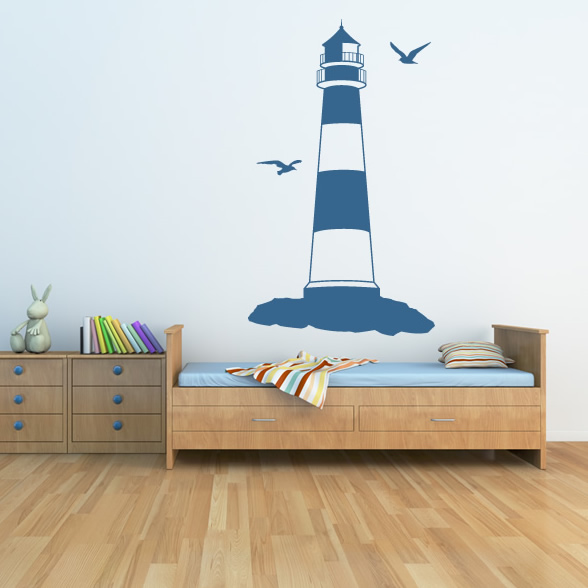 Lighthouse at the beach seaside wall sticker wall art for Beach wall decals