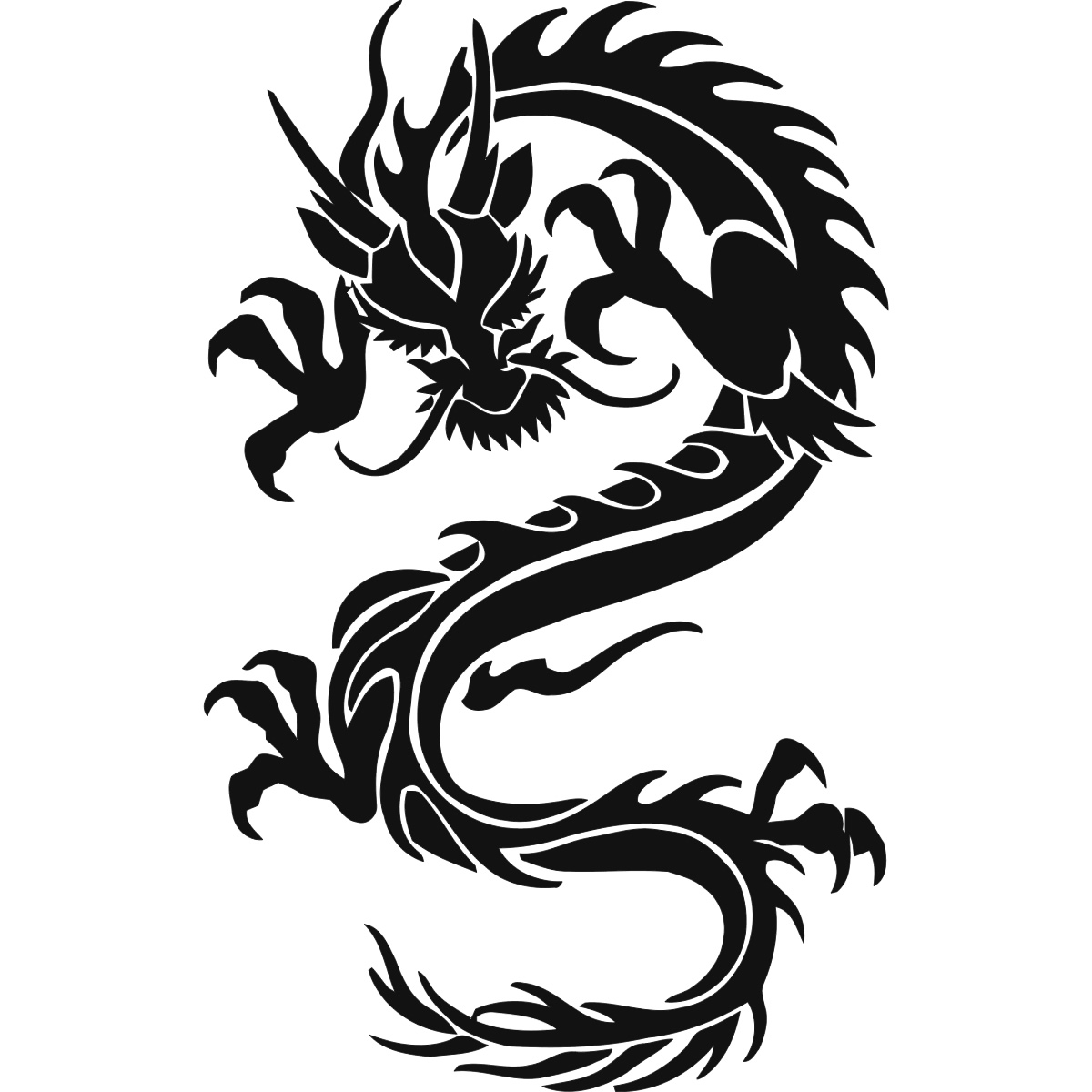 long windy dragon wall art sticker wall decals transfers ebay. Black Bedroom Furniture Sets. Home Design Ideas
