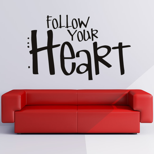 Love Quotes For Wall Art : Follow your heart wall stickers love quote