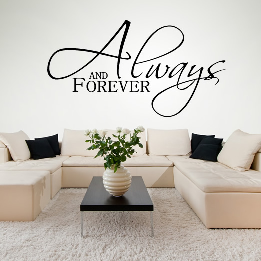 always and forever italic wall stickers love quotes wall