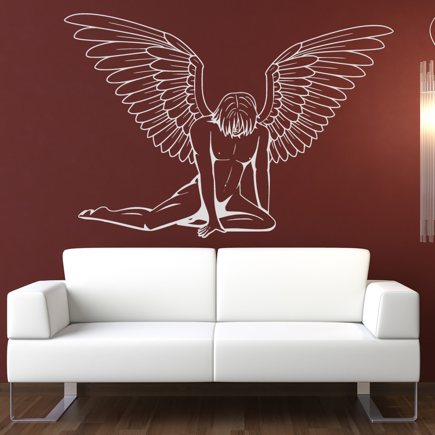 Wall Art Decals For Living Room: Male Angel Wall Art Sticker Wall Art Decal Transfers