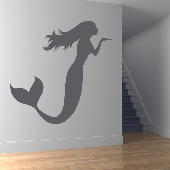 Decorative Wall Decals For Bathroom : ... Mermaid Blowing A Kiss Bathroom  Wall Stickers