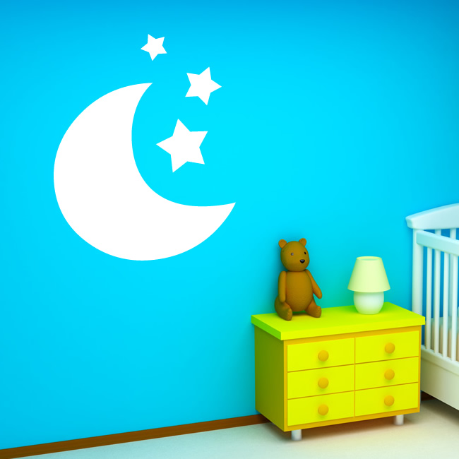 moon and stars kids wall art sticker wall decal transfers buy online catch the moon and stars wall stickers in nepal
