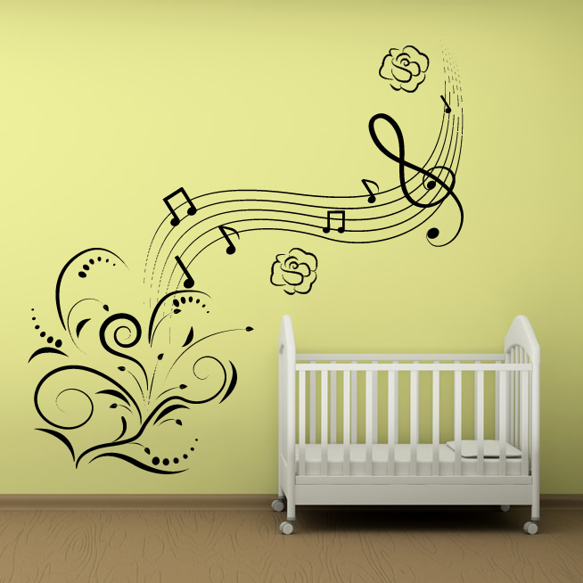 musique notes fleurs wall art decals wall stickers music themed map wall sticker by zabb notonthehighstreet com