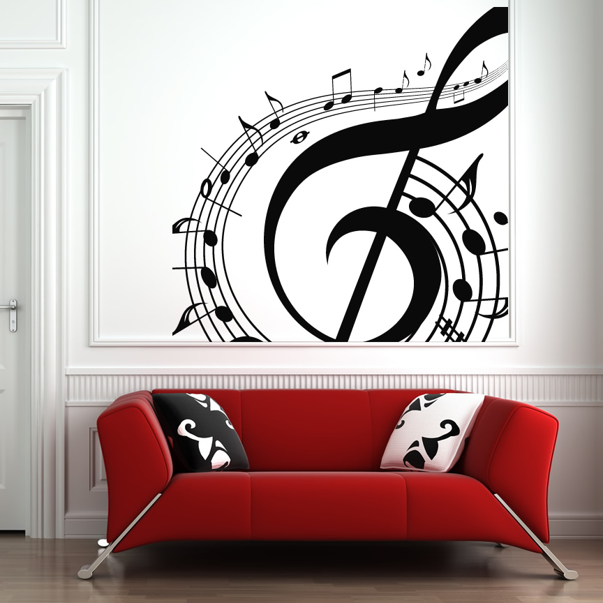 music notes swirl wall art sticker wall art decals transfers ebay. Black Bedroom Furniture Sets. Home Design Ideas
