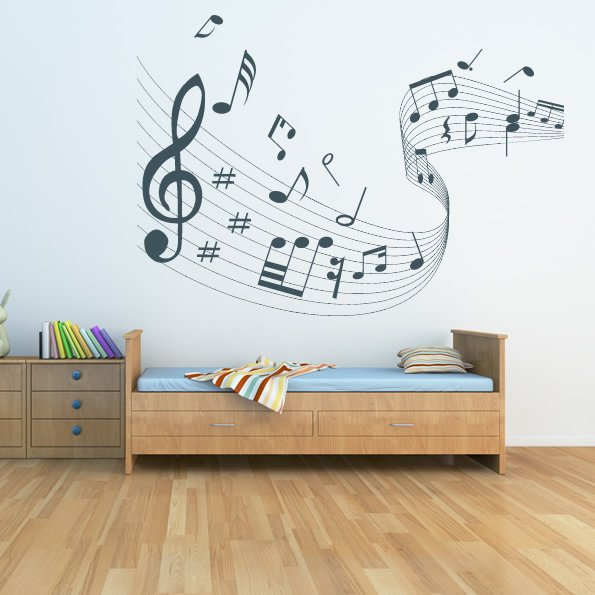 quaver led musical wave wall stickers musical notes wall music note symbols wall art sticker quote decal transfer