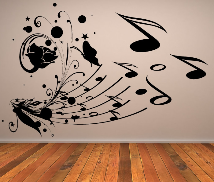 musical collage music notes wall stickers wall art decal transfers ebay. Black Bedroom Furniture Sets. Home Design Ideas