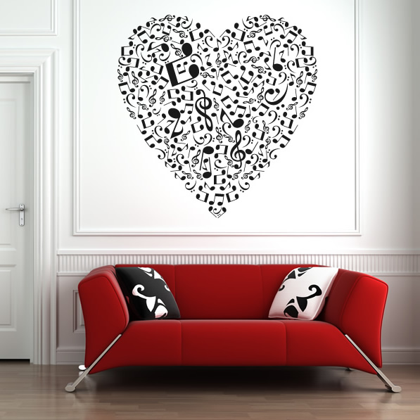 Musical Heart Music Notes Wall Stickers Wall Art Decal