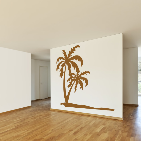 Beach Wall Decor Stickers : Palm trees on the beach sand wall art decals stickers