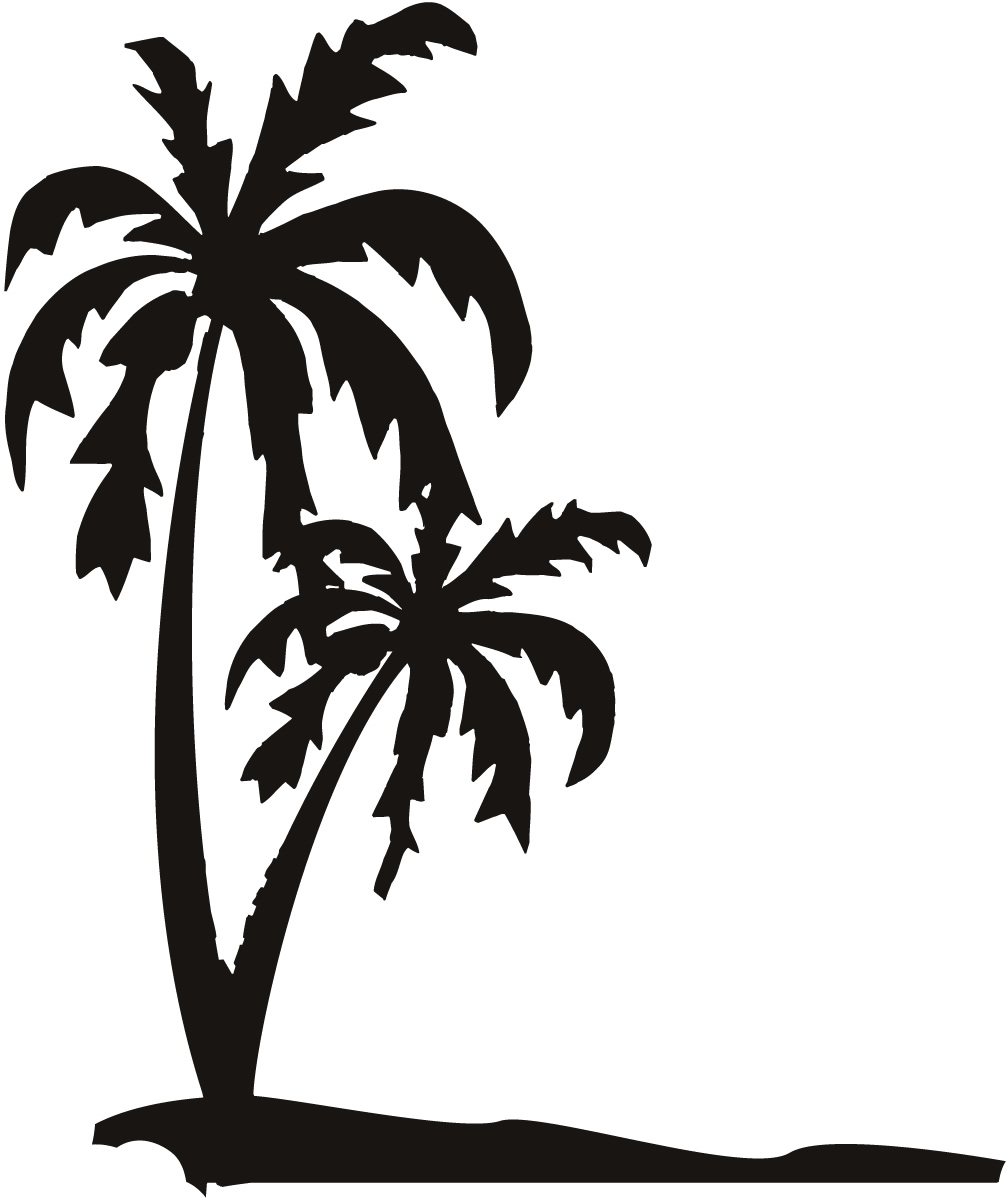 Palm Trees On The Beach Sand Wall Art Decals Stickers Transfers