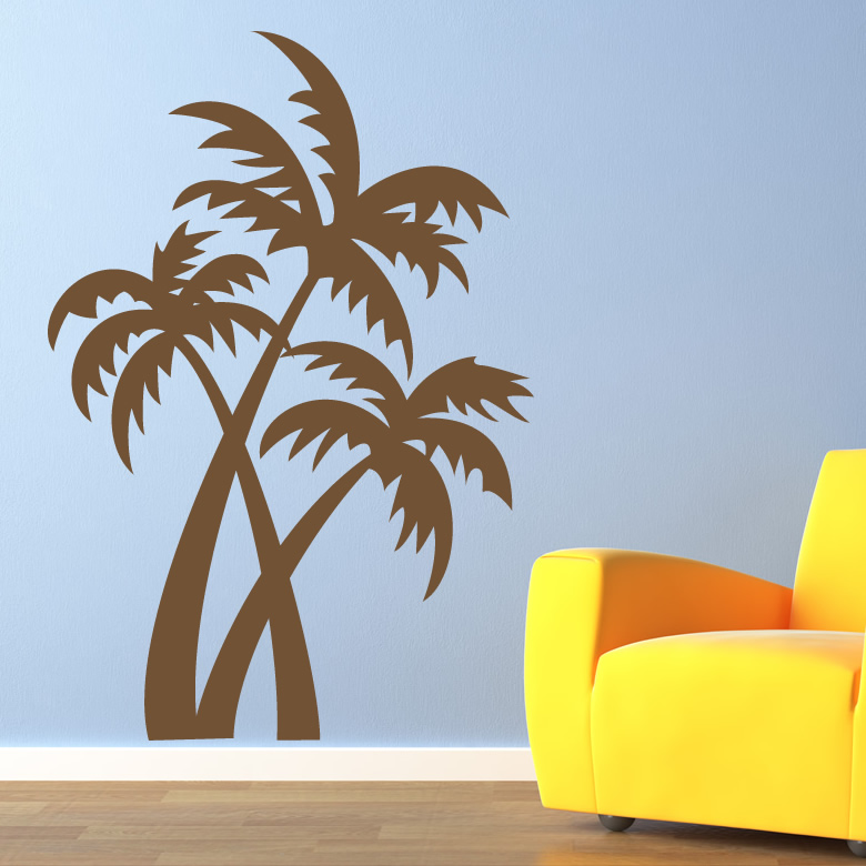 Palm trees at the beach wall art sticker wall decals for Beach wall mural sticker