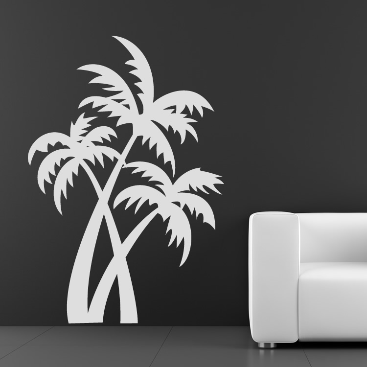 Beach Wall Decor Stickers : Palm trees at the beach wall art sticker decals