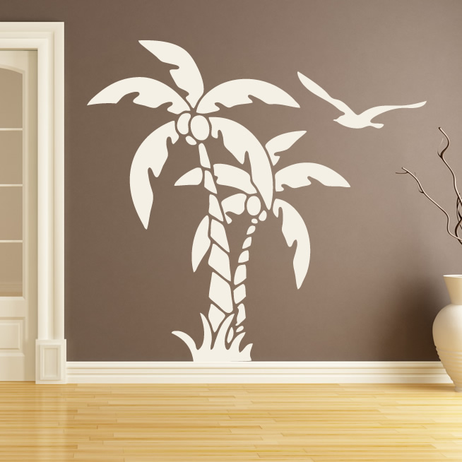 palm trees nature at the beach wall art stickers wall decal transfers ebay. Black Bedroom Furniture Sets. Home Design Ideas