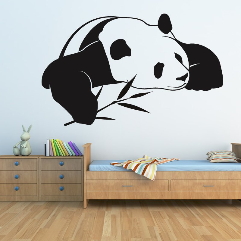 panda laid down bamboo wall art stickers transfers ebay baby panda wall decal