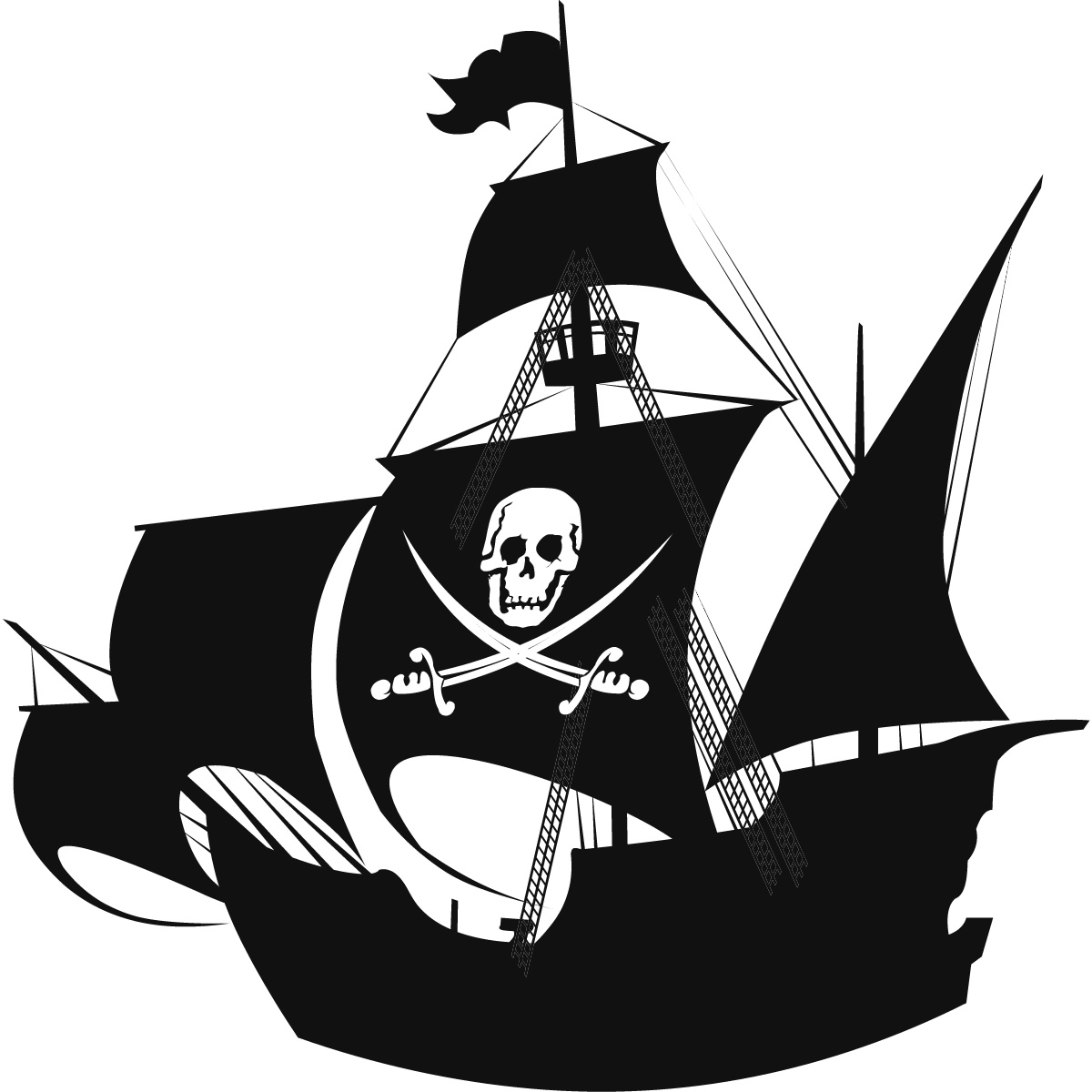 Pirate ship clip art black and white - photo#10