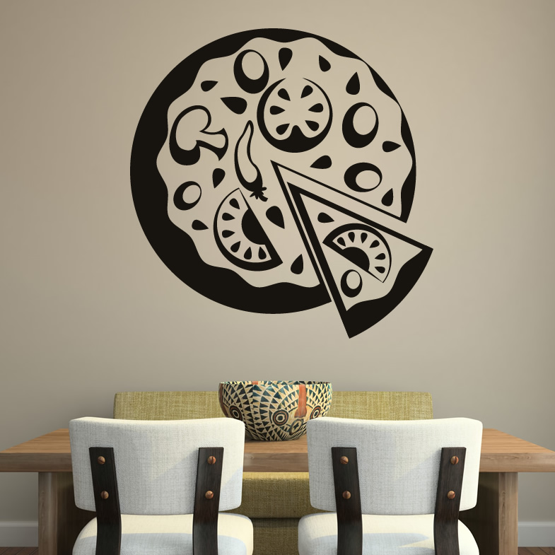 Pizza decor food cafe wall art decal wall stickers - Plaque decorative cuisine ...