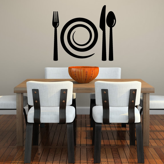 And cutlery wall stickers kitchen home wall art decal transfers ebay
