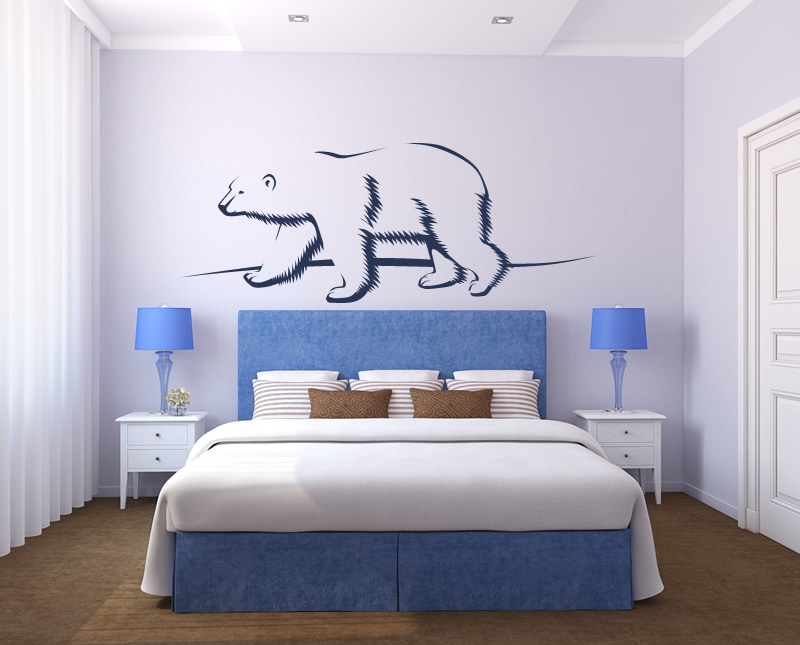Polar bear outline under the sea animals wall stickers for Belly button bears wall mural