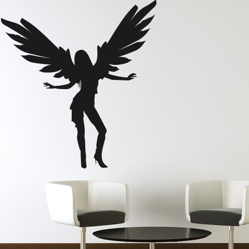 Dancing angel with full wings wall sticker wall art decal for Angel wings wall decoration uk