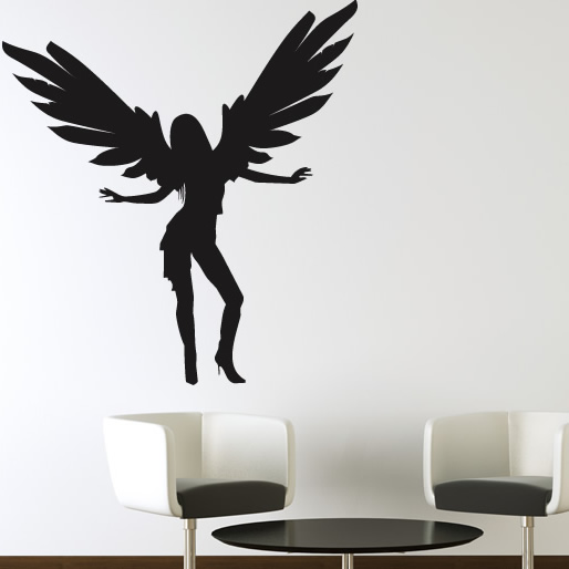 Dancing Angel With Full Wings Wall Sticker Wall Art Decal Transfers