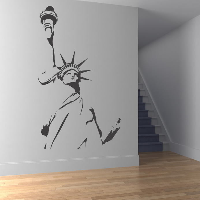 Statue of liberty outline new york wall stickers wall art for Decor outline