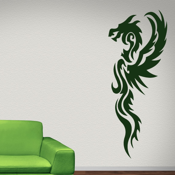 Long Winged Tribal Dragon Wall Stickers Wall Art Decal