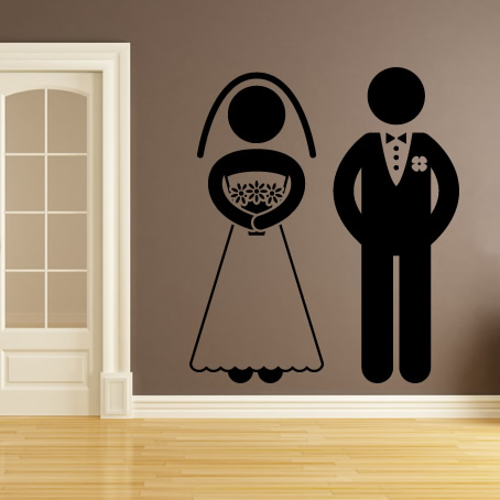Bride And Groom Silhouette Wall Sticker Wedding Wall Art