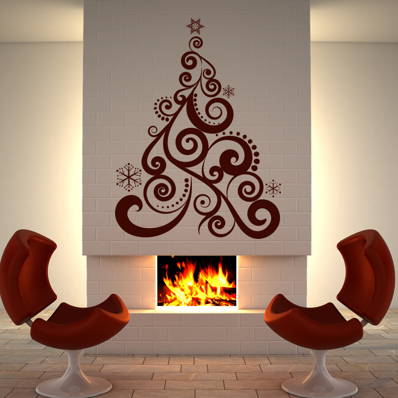 Xmas tree christmas wall art sticker wall decal transfers ebay - Christmas wall decorations ...