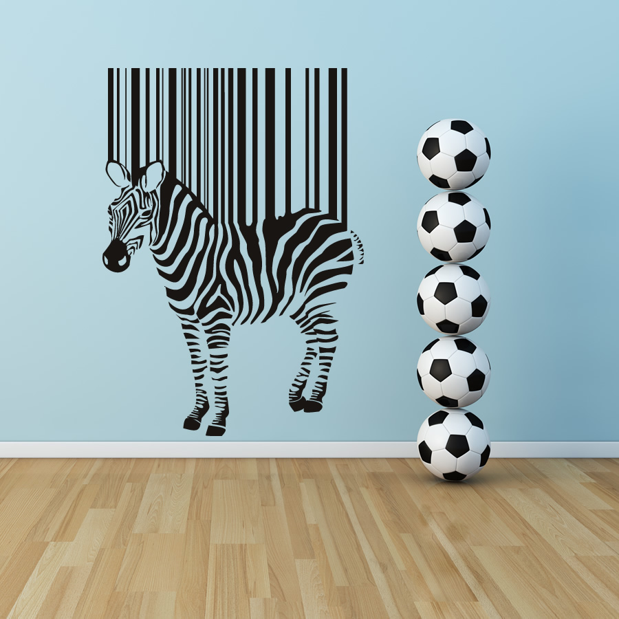 Zebra Stripes Wall Decor : Zebra barcode stripes animals wall art stickers decal