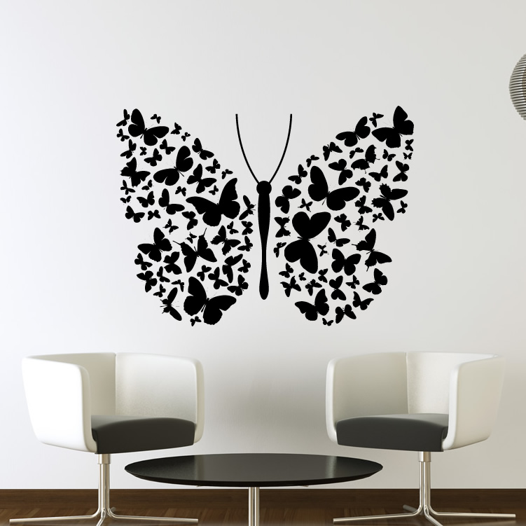 Big Butterfly of Lots of Small Butterflies Wall Art Decals ...